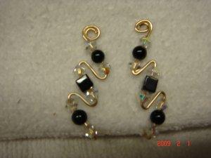 14 K gf Swarovski onyx crystal pin earrings