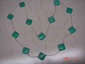 """32"""" long sterling silver turquoise necklace"""