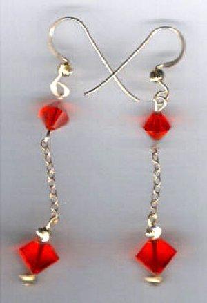 14kt gold filled red swarovski crystal dangle earrings