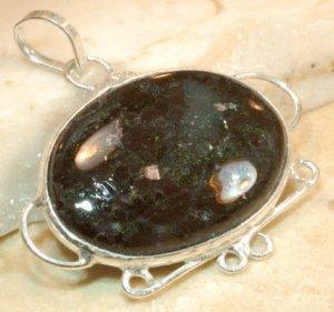"moss jasper sterling silver pendant 1 1/8"""