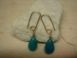 14 k gold filled blue topaz dangle earrings