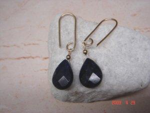 14 k gold filled blue sapphire dangle earrings