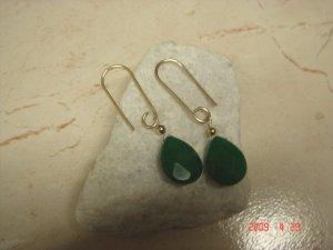 14 k gold filled emerald dangle earrings