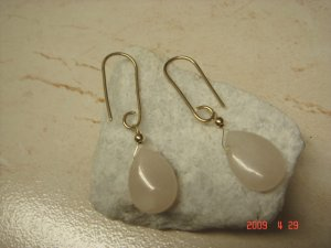 14 k gold filled rose quartz dangle earrings
