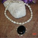 Fresh water pearls, black onyx & SS pendant 8in. pet necklace