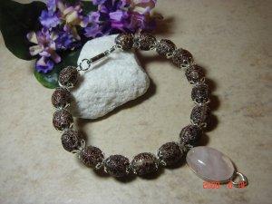 Genuine rose quartz pendant pet necklace size 6
