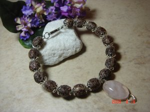 Genuine rose quartz pet necklace size 7