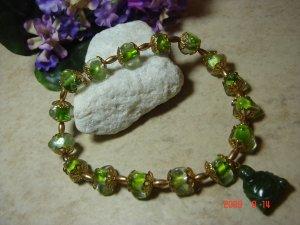 Genuine jade budda pendant green pet necklace size 10