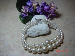 faux white pearl pet necklace size 7