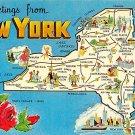 New York Greetings - Map Postcard (A377)