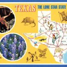 Texas Lone Star State - Map Postcard (A379)