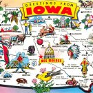 Iowa Greetings - Map Postcard (A382)