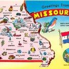 Missouri Greetings - Map Postcard (A388)