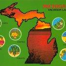 Michigan Vacation Land - Map Postcard (A396)