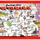 Wyoming Greetings - Map Postcard (A402)
