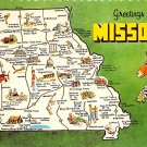 Missouri Greetings From - Map Postcard (A409)