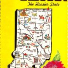 Indiana Greetings From - Map Postcard (A416)