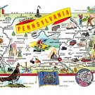 Pennsylvania Greetings From - Map Postcard (A417)