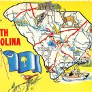 South Carolina Greetings From - Map Postcard (A421)