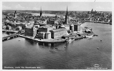 Stockholm, Sweden, Sverige Postcard -Utsikt fran Stadshusets torn (B348-349)