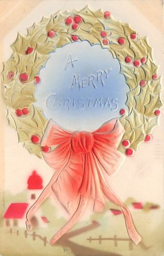 A Merry Christmas Embossed Wreath (B530-531)
