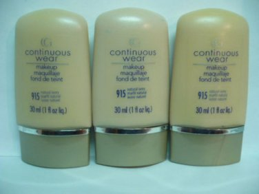 3 Cover Girl CG Continuous Wear Makeup 915 Natural Ivory  1 fl.oz (30ml) Each