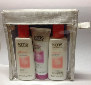 KMS CALIFORNIA SILKSHEEN SHAMPOO CONDIONER HAIRSTAY GEL TRAVEL KIT