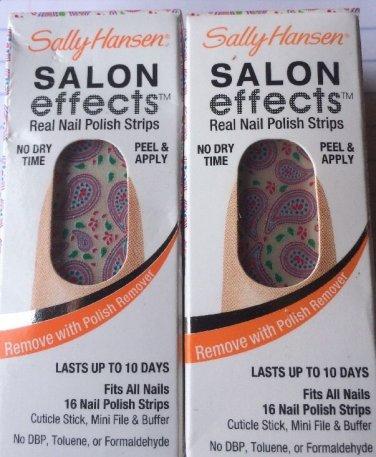 2 SALLY HANSEN #05 PINK A PRIZE Salon Effects Nail Polish Strips