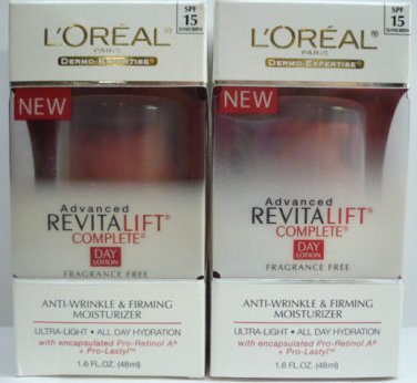 LOT OF 2 L'Oreal Advanced RevitaLift Complete Day Lotion 1.6 Fl.oz SPF15