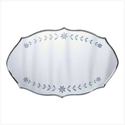 ETCHED FLORAL WALL MIRROR   RETAIL; $17.95