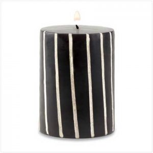 BLACK AND WHITE STRIPED CANDLE   Retail: $7.95