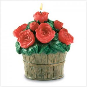 ROSE BUCKET CANDLE   Retail: $9.95