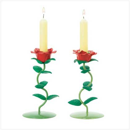 PAIR OF ROSE CANDLEHOLDERS  Retail: $14.95