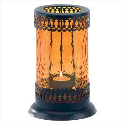 AMBER GLASS LANTERN  Retail: $16.95