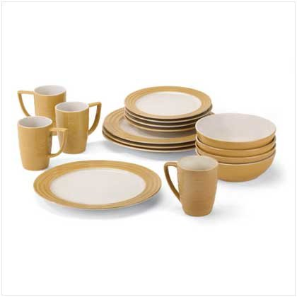 TAN DINNERWARE SET  Retail; $69.95