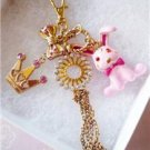 "NWT Betsey Johnson Enamel Bunny Rabbit 32"" Necklace"