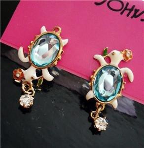 NWT Betsey Johnson Sea Blue Crystal Turtle Earrings