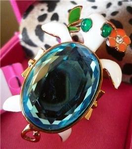 NWT Betsey Johnson Enamel Crystal Turtle Ring Size 7.5