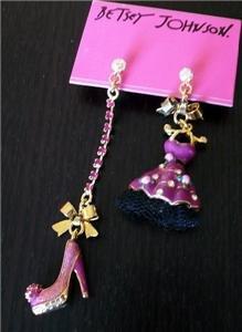 NWT Betsey Johnson Crystal Enamel Dress Heels Earrings
