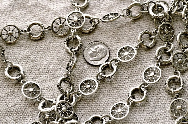 Fancy Metal Chain Antique Silver j30b-BY THE FOOT