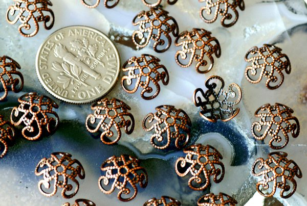 40pcs Antique Copper Plated Brass Filigree Bead Caps Brass Vintaged Filigree 10mm bc01d
