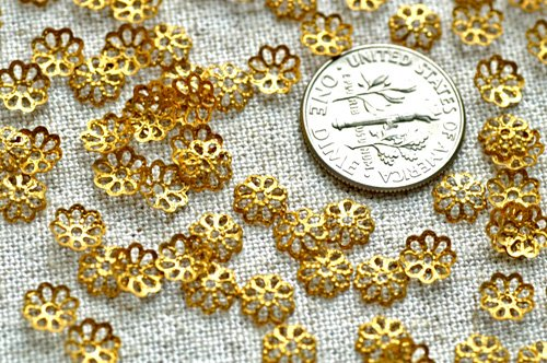 200 Solid Brass Stamping Filigree Bead Caps Embellishment 6mm bc34