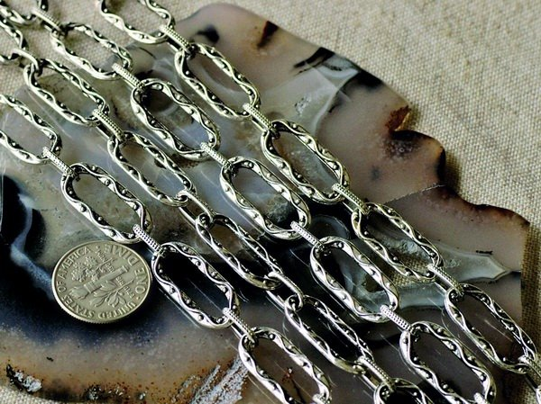Antique Silver Plated Metal Chain j165b(2ft)
