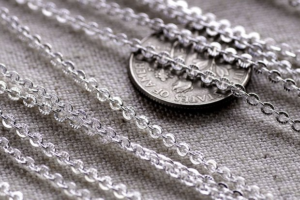 Sterling Silver Plated Brass Link Cable Chain 2mm c110a (6ft)