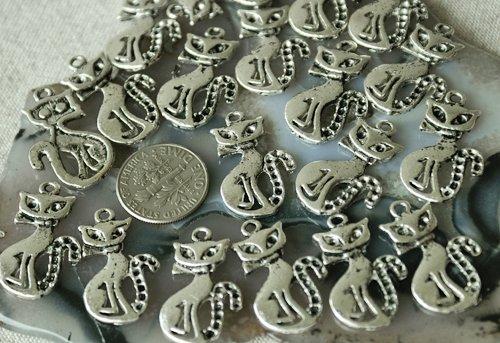 10pcs Antique Silver Plated Bali Charm Pendants Cat a032