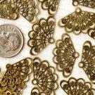 30pcs Antique Bronze Brass Filigree Wrap Charm Pendant 23.5mm be35b
