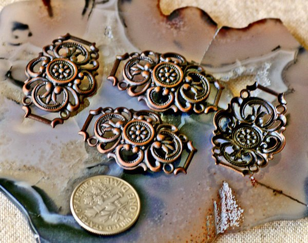 12pcs Antique Copper Plated Brass Filigree Connector 20mm b43d