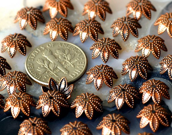 40pcs Antique Copper Brass Stamping Filigree Bead Caps 9mm bc13d