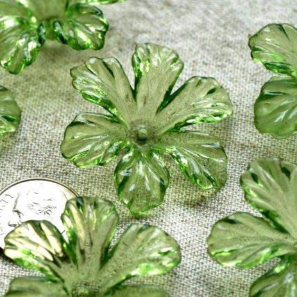 12pcs Translucent Green Cherry Blossom Flower Beads 28mm p160g