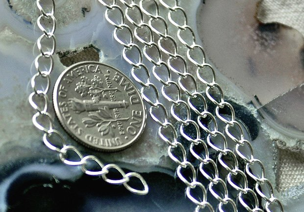 Sterling Silver Plated Brass Chain Link Curb Chains Necklace 5.5x4mm c01s(5ft)